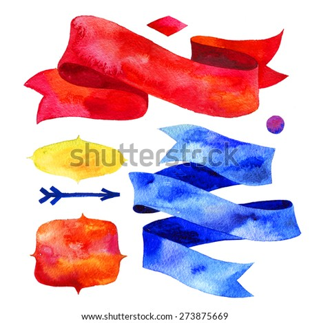 Watercolor ribbons and banners for text. Collection of Watercolor design elements, backgrounds, labels, arrow, ribbons . Hand drawn abstract colorful stripes. - stock photo