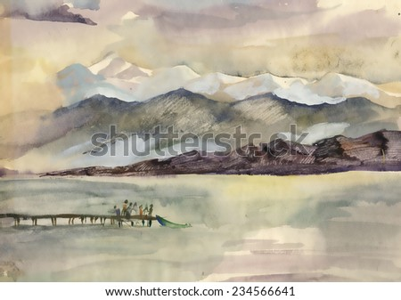 Watercolor river and mountains nature landscape - stock photo