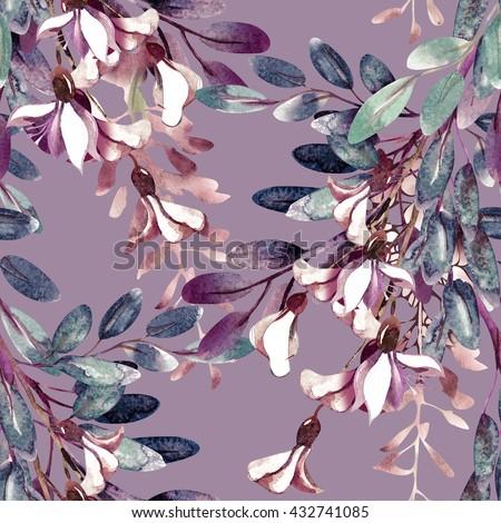 Watercolor Robinias Seamless Pattern - stock photo