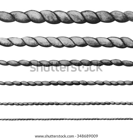 Watercolor ropes isolated on white background set. Gray colors. Hand painting on paper - stock photo