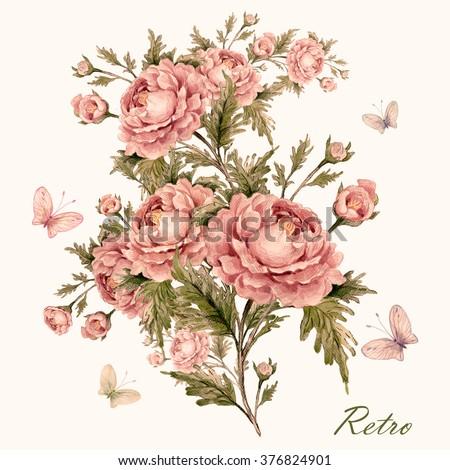 Watercolor rose bouquet with butterflies-1. Vintage, retro. Pastel. Toned. - stock photo