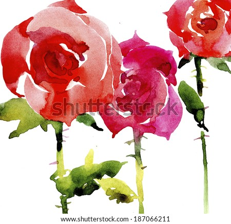 Watercolor roses background - stock photo