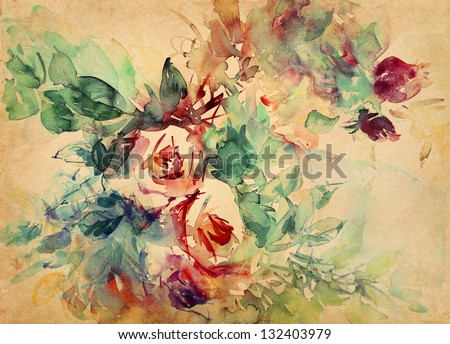 watercolor roses painted on beige tone paper - stock photo