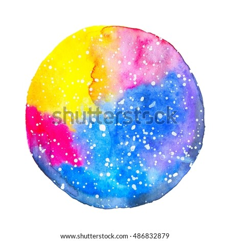 Watercolor round colored space isolated on white background. Universe and stars illustration. Card design perfect for holiday and birthday. Galaxy illustration