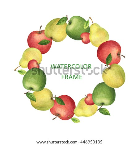 Watercolor round frame from fresh apples and pears. Design element for a healthy lifestyle, diet menu and eco food. Place for your text. - stock photo