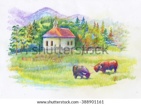 Watercolor rural green summer day village - stock photo