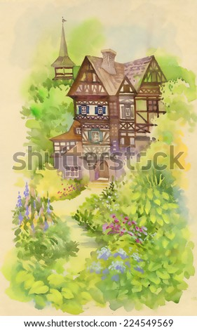 Watercolor rural landscape with house and tower