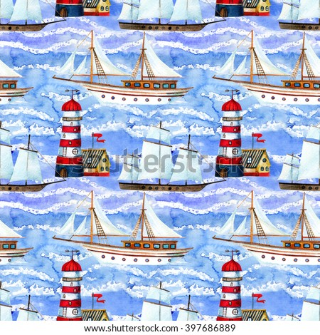 Watercolor sailing ships and lighthouse seamless pattern on blue waved background. Hand painted marine transport illustration. Travel cruise pattern - stock photo