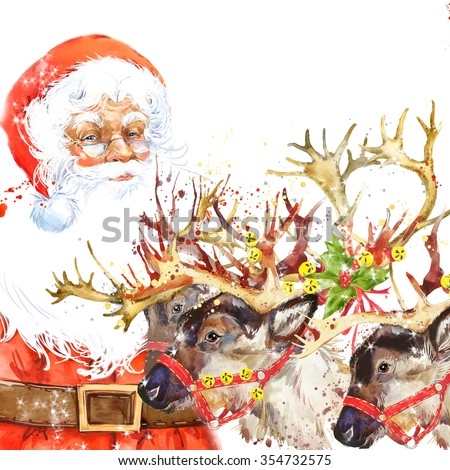 Watercolor Santa Claus and reindeer illustration. Winter holiday watercolor background. - stock photo