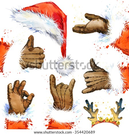 Watercolor Santa Claus hand and hat set. Santa Claus hand showing thumbs up ok sign, hand presenting your text or product, sign call me reindeer antlers. New Year and Christmas  decorative elements - stock photo