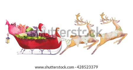 Watercolor Santa Claus illustration. Hand drawn Santa with gift boxes rides in sleigh pulled by reindeer. Christmas artwork isolated on white background - stock photo