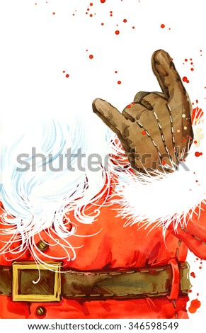 Watercolor Santa Claus. Santa Claus Christmas background. New Year watercolor background. - stock photo