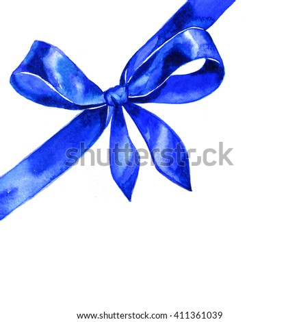 Watercolor satin blue bow on white background