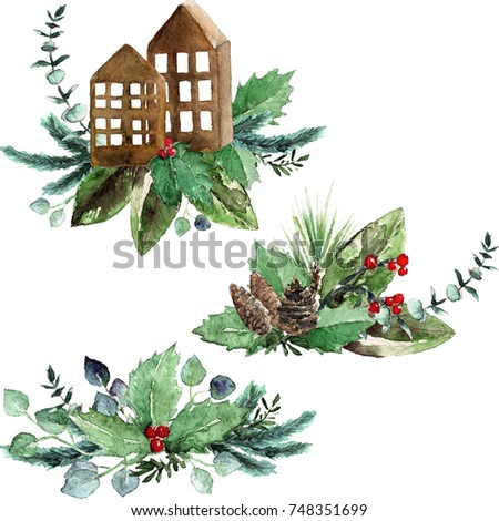 Watercolor Scandinavian Christmas Composition Set. Hand drawn winter decoration. Magnolia leaves, spruce, eucalyptus, holly and pinecones bouquets. Tiny decorative wooden houses with greenery.