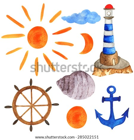 Watercolor sea icons. Sun, helm, lighthouse, sea shell, anchor, moon, half moon, cloud set isolated on white background. Hand painting on paper - stock photo