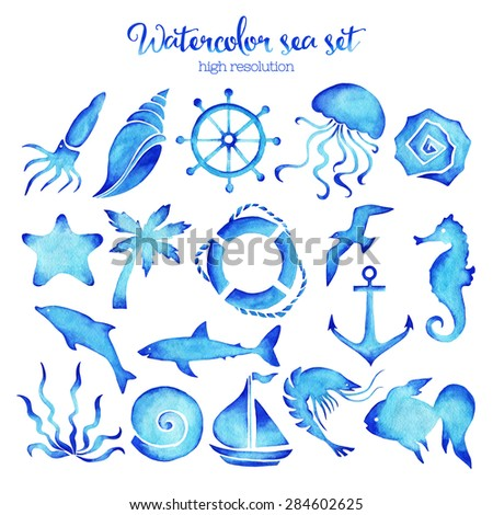 Watercolor sea set of design elements in high resolution.