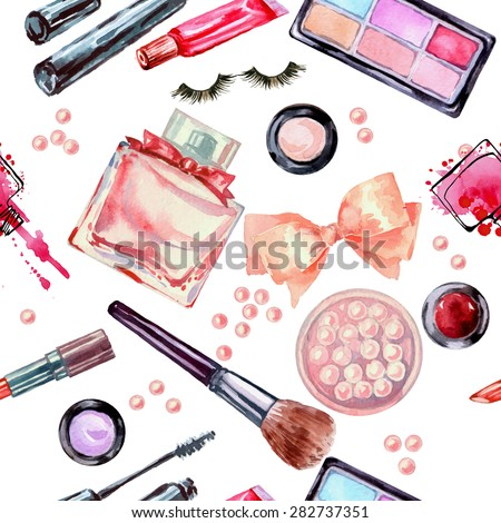 Watercolor seamless cosmetics  pattern with  make up artist objects: lipstick, eye shadows, brushes, nail polish mascara, perfume, blush.  - stock photo
