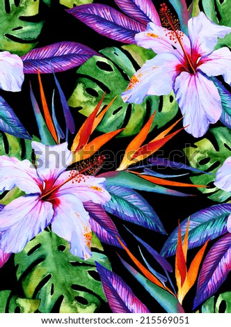 watercolor seamless exotic pattern with hibiscus, plumeria, monstera, palm, bird of paradise, drawn in watercolor on white - stock photo
