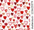 Watercolor seamless hearts pattern - stock vector