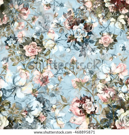 Watercolor seamless pattern bouquet of roses in bud-4. Beautiful pattern for decoration and design. Trendy print. Exquisite pattern of watercolor sketches of the flower. Toned.