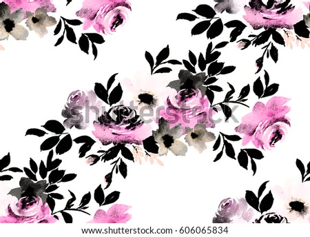 watercolor seamless pattern floral print wallpaper stock