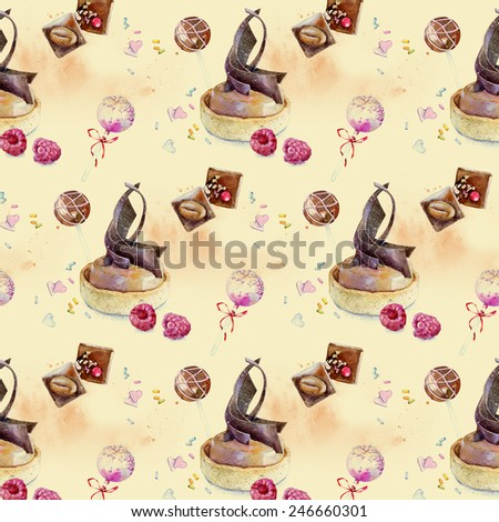 Watercolor seamless pattern in vintage style , cakes, candies with nuts, raspberries , chocolate, lollipops . Festive background for scrapbooking , greeting cards and packaging. - stock photo