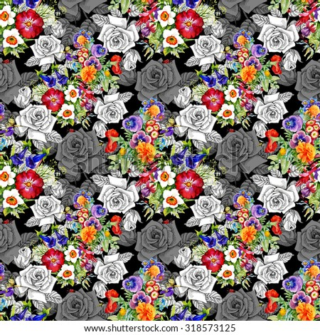 Watercolor seamless pattern on black background with roses, violets and other flowers. Background for web pages, wedding invitations, save the date cards - stock photo