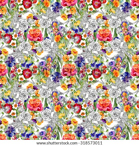Watercolor seamless pattern on gray background with roses, violets and other flowers. Background for web pages, wedding invitations, save the date cards - stock photo