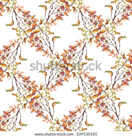 Watercolor seamless pattern on white background with autumn leaves