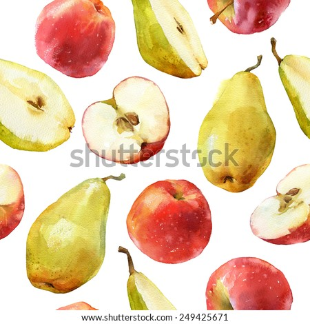 Watercolor seamless pattern with apples and pears full and halves isolated on white background