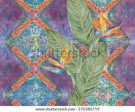 Watercolor seamless pattern with beautiful tropical plants - Bird of Paradise Flowers. Hand drawn watercolour flowers. - stock photo