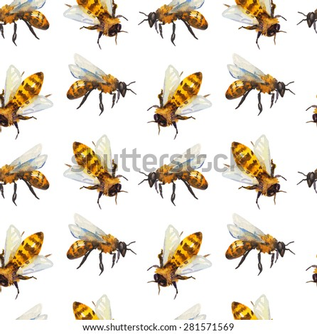 Watercolor seamless pattern with bee over white - stock photo