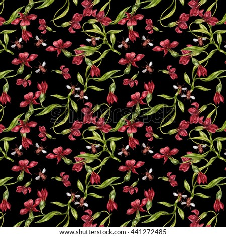 Watercolor seamless pattern with Blooming Flowers, beetles. Fern, Wildflowers and leaves. Black background. - stock photo