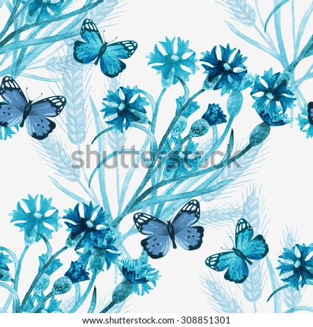 Watercolor seamless pattern with blue wild field flowers, cornflower, spikelet, wheat, butterflies on white background. Hand painting on paper   - stock photo