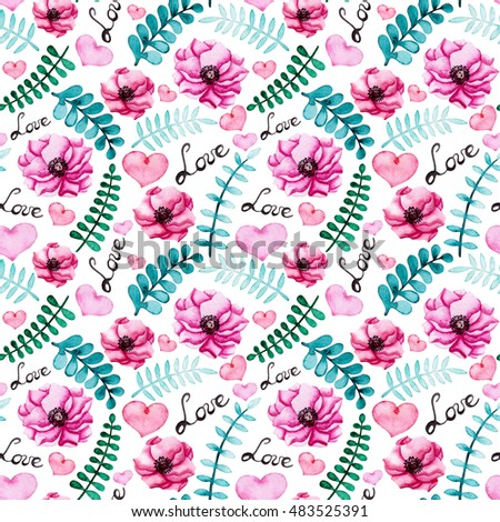 Watercolor seamless pattern bright pink flowers stock illustration watercolor seamless pattern with bright pink flowers and hearts blue and green leaves mightylinksfo