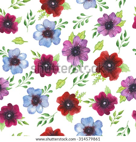Watercolor seamless pattern with bright red, blue and violet Ranunculus flowers and green leaves on the white background. . - stock photo