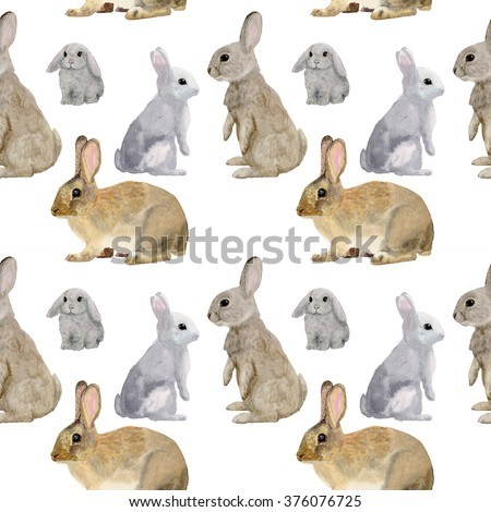 Watercolor seamless pattern with bunny.rabbit, hare, seamless pattern, watercolor illustration, background