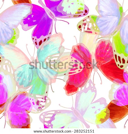 Watercolor seamless pattern with colorful butterflies. Summer repeating background. Hand painting on paper