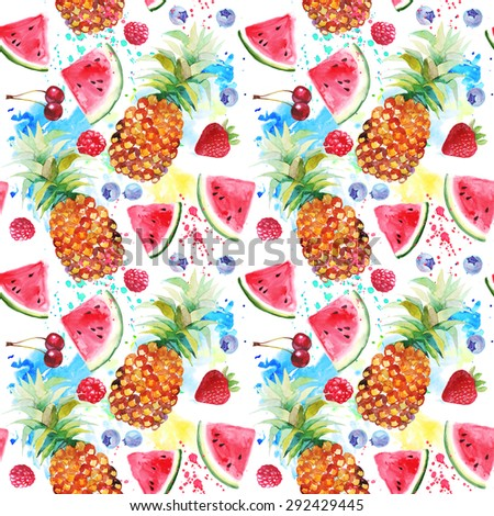 pineapple and watermelon wallpaper. watercolor seamless pattern with pineapples and watermelons. pineapple watermelon wallpaper