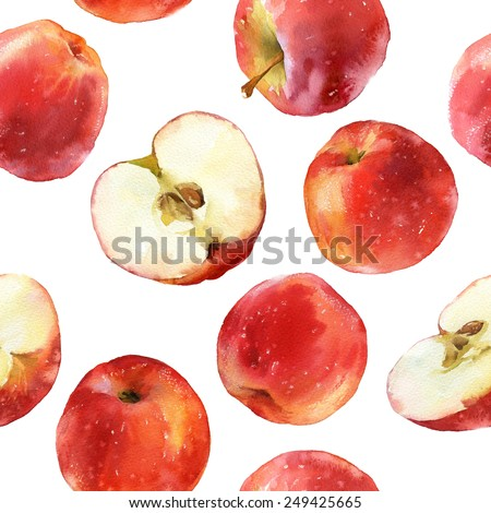Watercolor seamless pattern with red apples, full and halves isolated on white background - stock photo