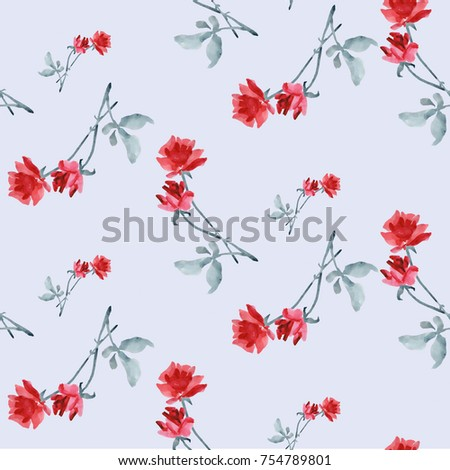 Watercolor seamless pattern with red roses and grey leaves on light blue background