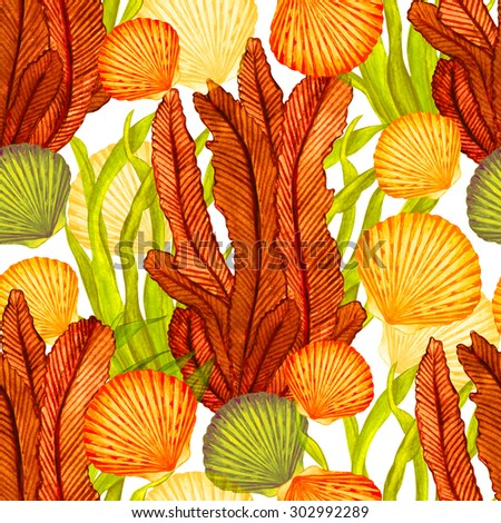 Watercolor seamless pattern with scallop sea shells, seaweed closeup on white background. Hand painting on paper  - stock photo