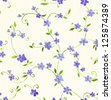 Watercolor seamless pattern with styled blue flower - stock photo