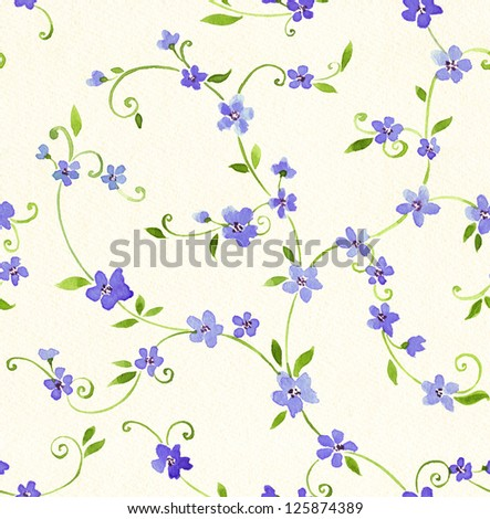 Watercolor seamless pattern with styled blue flower