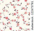 Watercolor seamless pattern with styled spring cherry blossoms - stock