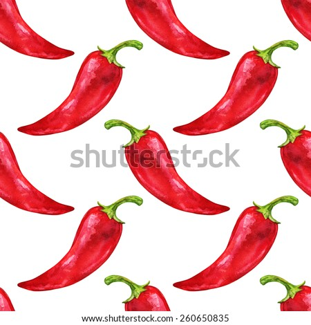 Watercolor seamless pattern with vegetable red hot chili pepper closeup on a white background. Hand painting on paper - stock photo