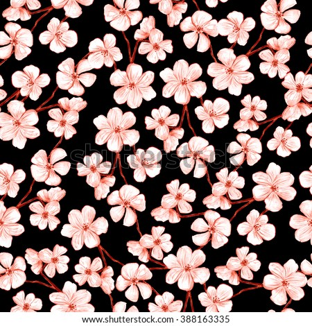 Cherry Blossom Vector Background Seamless Flowers Stock ...