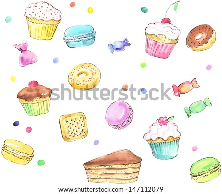 Watercolor seamless sweets pattern - stock photo