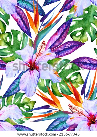 watercolor seamless tropical pattern with hibiscus, plumeria, monstera, palm, bird of paradise - stock photo