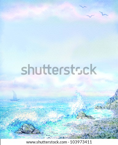 Watercolor seascape background. Scenic morning surf on the rocky shore - stock photo